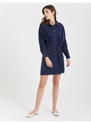 BGN Lacivert - Mini Gömlek Elbise Lacivert